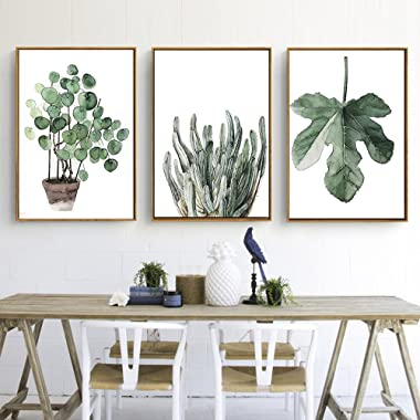 Green Plant Series Canvas Print, Wall Art, Poster, Airbnb Home Decor. Sofa / Cafe / Office / Hotel Painting, Housewarming Gift. 3pcs. Unframed. (60 x 80 cm / 23.6 x 31.5 in)