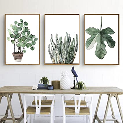 Green Plant Series Canvas Print Wall Art Poster Airbnb Home Decor Sofa Cafe Office Hotel Painting Housewarming Gift 3pcs Unframed 60 X