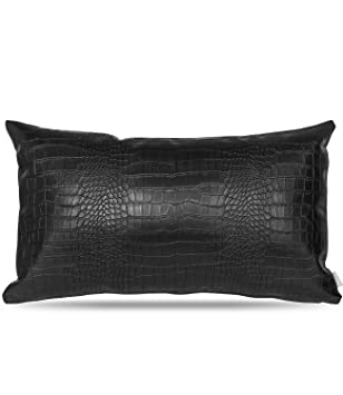 Faux Leather Lumbar Pillow Cover: Decorative for Couch Throw Pillow Case in Black Crocodile Skin for Cushions and Sofa Living Room Accent Pillow, fits ...