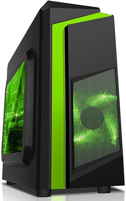 CiT, Carcasa de computadora F3 Midi para Gaming, con Ventilador de 12 cm con luz LED Verde, Color Negro Multicolor Verde: Amazon.es: Informática