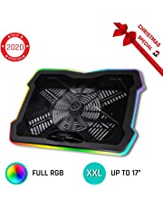 """KLIM™ Ultimate + Refroidisseur PC Portable - 11"""" à 17"""" + Éclairage RGB + Support Ordinateur Portable Gaming + Nouveauté 2019 + Ventilateur USB + Stable et Silencieux + Compatible avec Mac et PS4"""