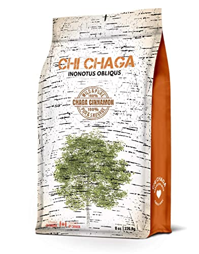 Premium Chaga Mushroom Cinnamon Powder - 8 oz of Authentic 100 Wild Harvested Canadian Chaga Tea