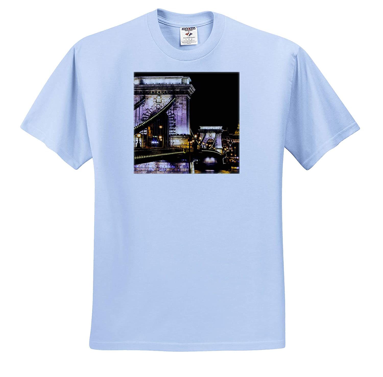 Hungary Hungary ts/_313621 Chain Bridge Danube River Reflection Budapest Adult T-Shirt XL 3dRose Danita Delimont