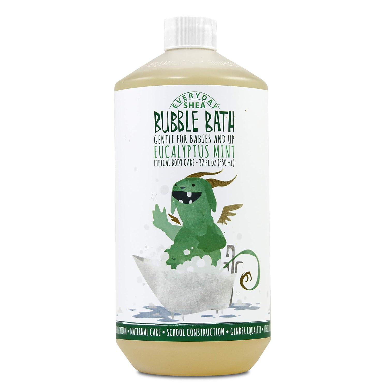 Alaffia - Everyday Shea Bubble Bath, Babies and Kids, Gentle Support to Clean, Moisturize, and Calm with Shea Butter, Lemon Balm, and Spearmint, Fair Trade, Eucalyptus Mint, 32 Ounces C583