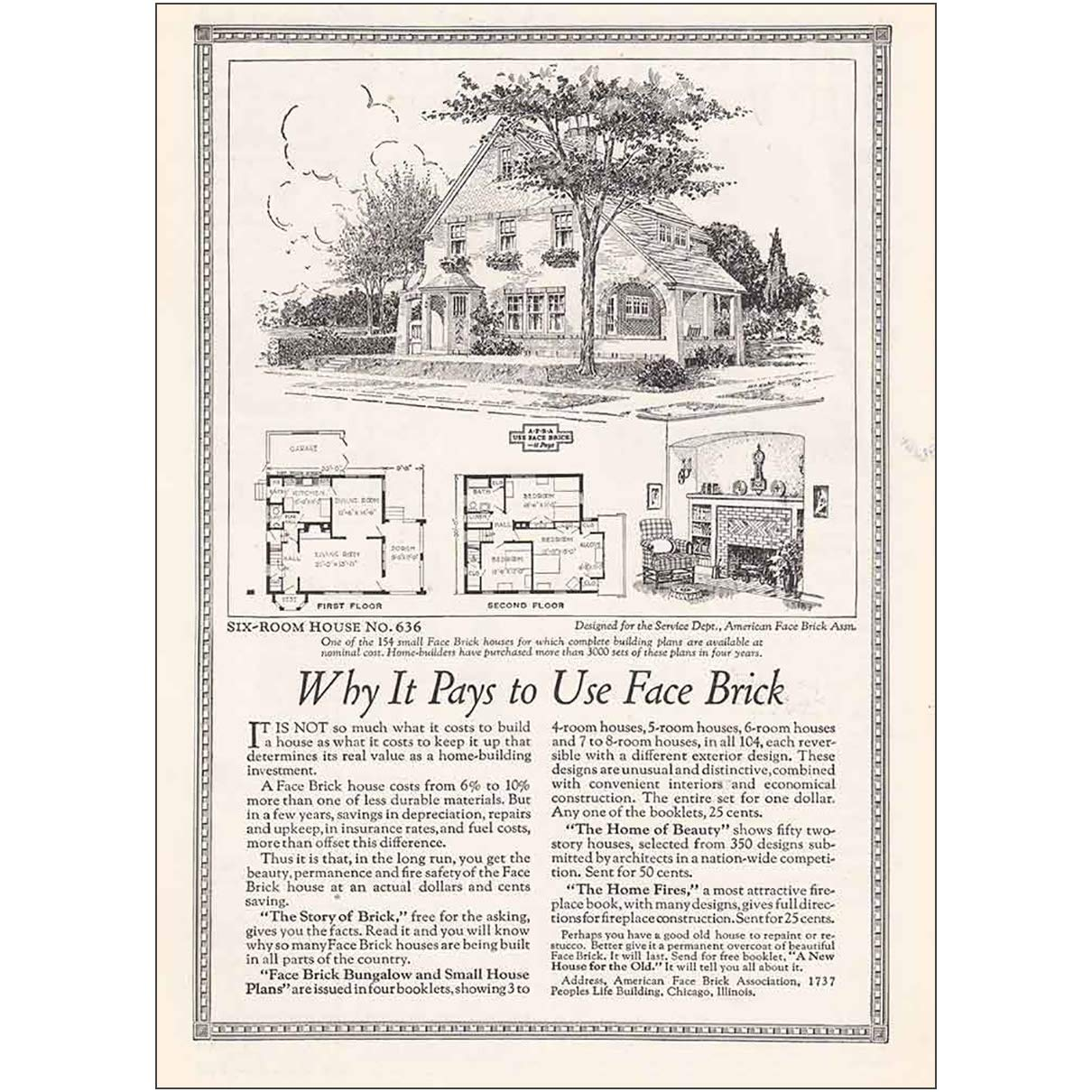 Amazon.com: RelicPaper 1925 American Face Brick: Six Room ... on large room house plans, single room house plans, sitting room house plans, hidden room house plans, very basic house plans, great room house plans,