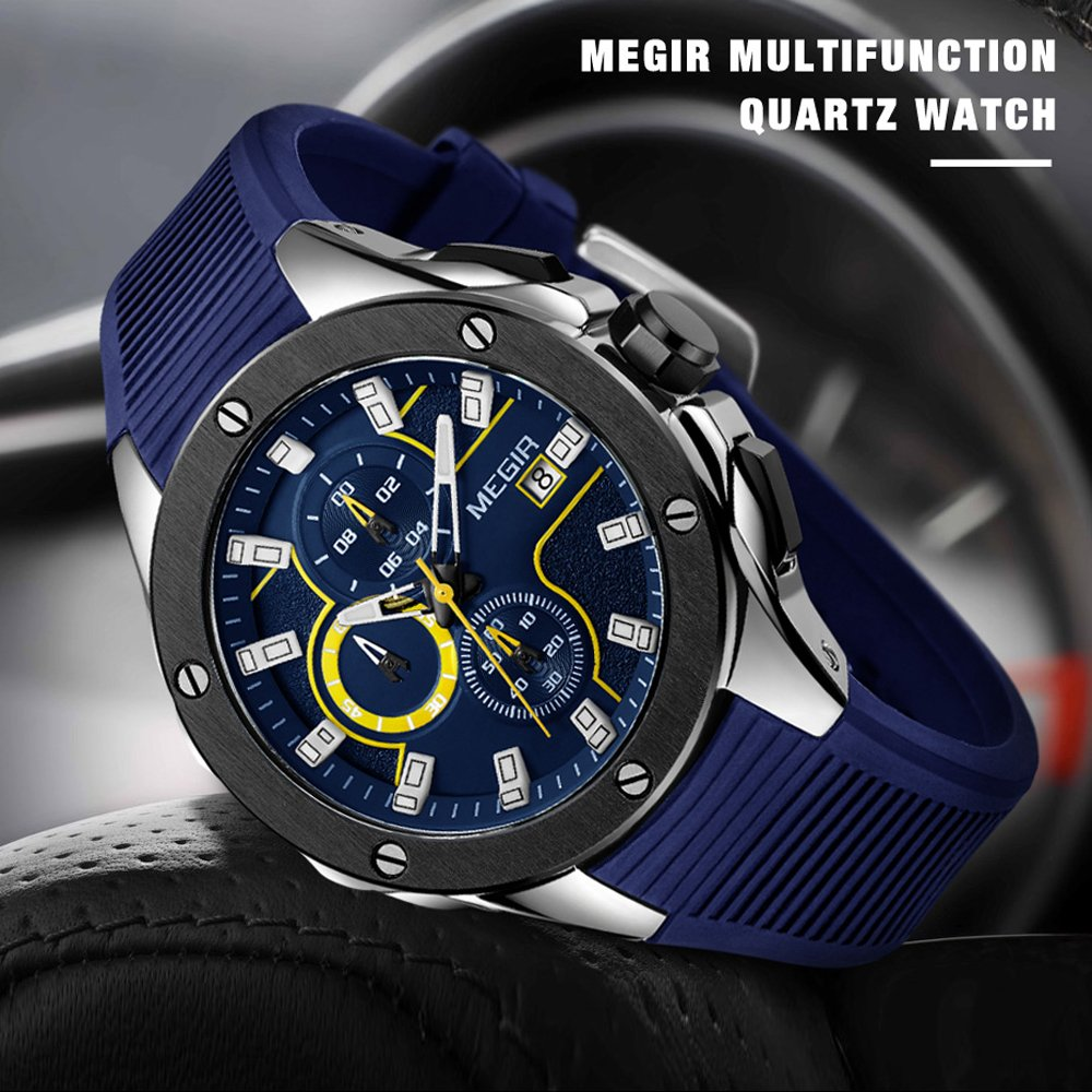 Amazon.com: Casual Sport Watches for Men,MEGIR Fashion Quartz Watch,Mens Chronograph Waterproof Wristwatch with Date Display (MG-2053-SBe): Watches