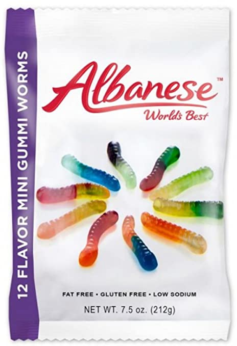 Albanese World's Best 12 Flavor Mini Gummi Worms - 7.5 oz. (212g)