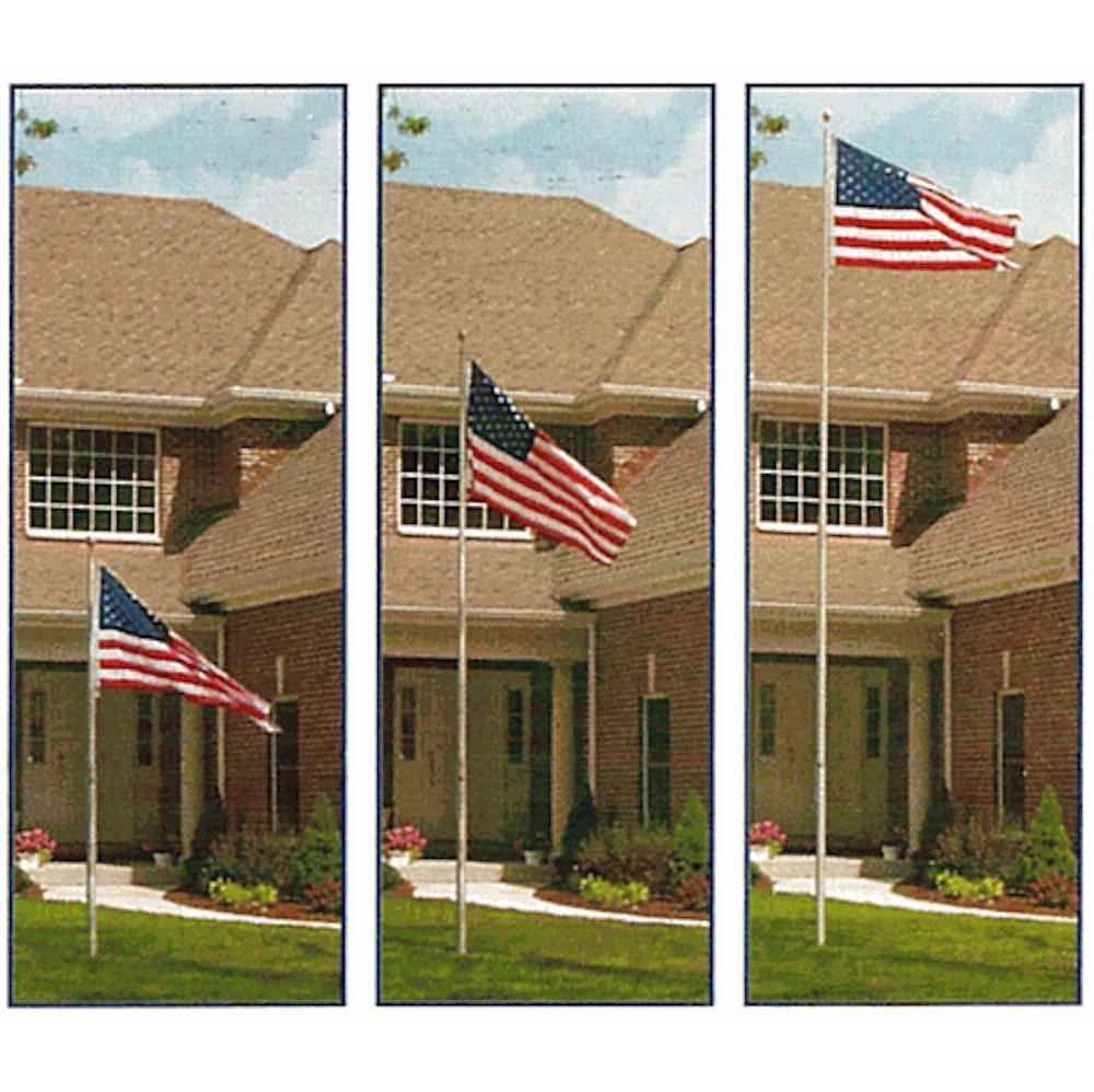 MBN 12'/16'/20' Telescoping Flagpoles - The American Flag Pole Set with Gold Ball Top - Family Garden Outdoor US Flag 3x5 feet