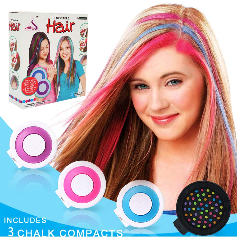 Kids Hair Color Chalk Comb - Here Shine Temporary Hair Color for Girls Non  Toxic Washable Hair Dye for Kids and Teen 4 Pcs