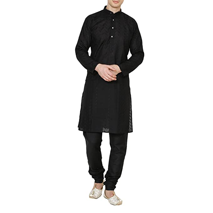 e2f778a31cf6d3 Royal Men's Lucknowi Chikan Embroidered 100% Cotton Comfortable Kurta  Churidar Pyjama Set (44, Black-zed): Amazon.in: Clothing & Accessories