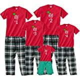 Santa's Elf #1, #2, #3, etc. Matching Christmas Adult Pajamas & Kids Playwear for the Whole Family; Kid, Adult, or Dog