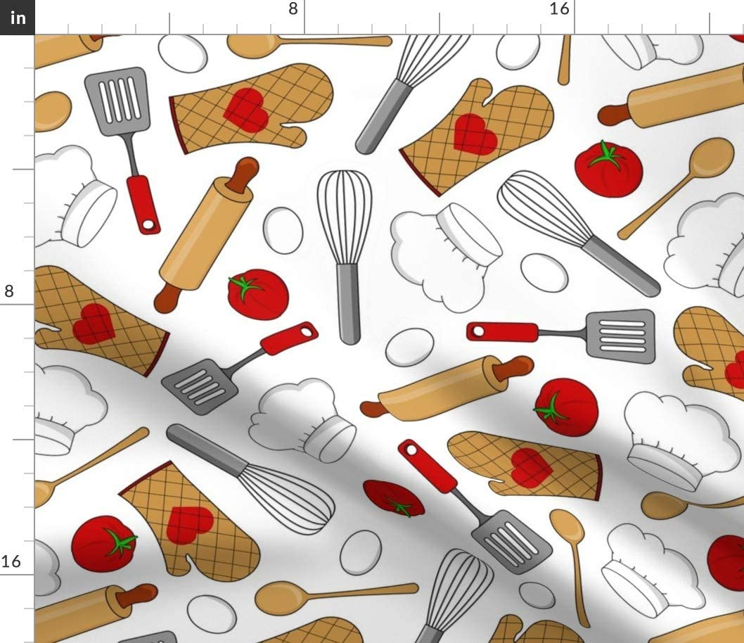 Spoonflower Fabric - Kitchen White Baking Chef Cook Cooking Love Food Printed on Petal Signature Cotton Fabric by The Yard - Sewing Quilting Apparel Crafts Decor