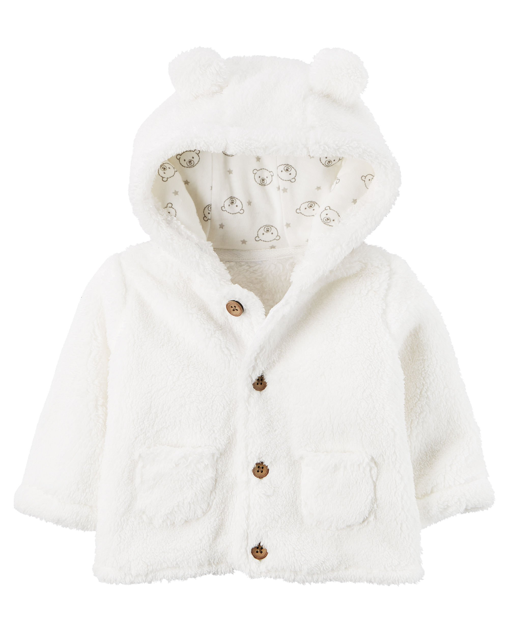 Carter's Baby Hooded Sherpa Jacket White 3 Months by Carter's