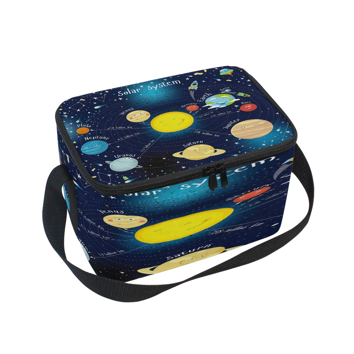 Use4 Solar System Space Galaxy Insulated Lunch Bag Tote Bag Cooler Lunchbox for Picnic School Women Men Kids