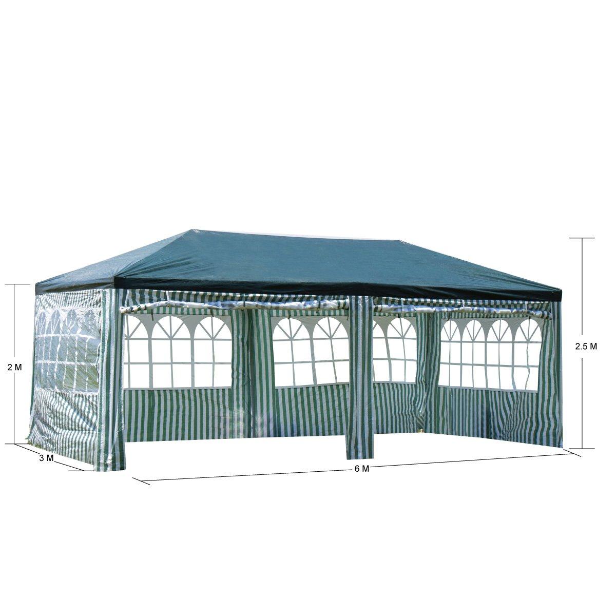 Gazebo 2 5 X 3.Xh Gardenlife Waterproof 3 X 6m Pe Gazebo Marquee Awning Party Tent Canopy Pe Power Coated Steel Frame Blue Garden Outdoors Ac Garden Furniture Accessories