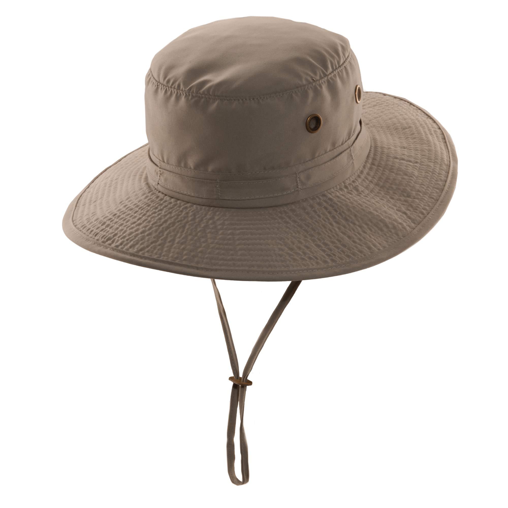 Panama Jack Unisex Drawstring Bucket Hat (Large, Khaki)