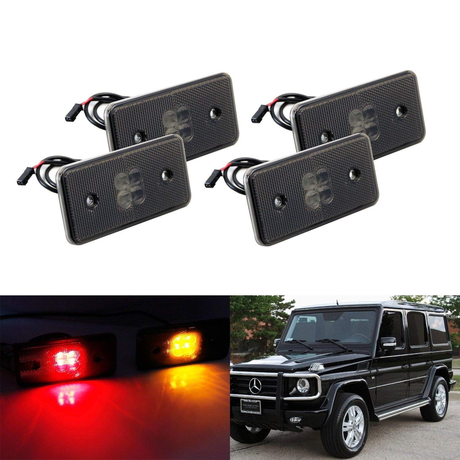 iJDMTOY Smoked Lens Amber/Red Full LED Side Marker Light Kit For 2002-14 Mercedes W463 G-Class G500 G550 G55 G63 AMG, Replace Front/Back OEM Sidemarker Lamps iJDMTOY Auto Accessories Change Left/Right Original Lamp Assembly