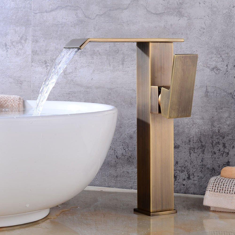 Hlluya Wasserhahn für Waschbecken Küche Die Die Die wasserhähne an den Waschbecken Wasserhahn Einloch Retro Heiß und Kalt f8008b