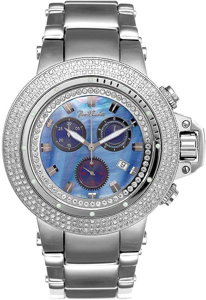 Joe Rodeo Diamante Reloj de Hombre–Razor Plata 4Ctw