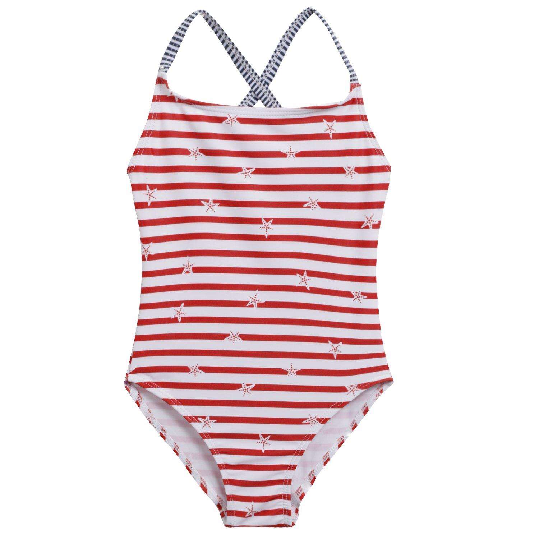 Arshiner Toddler Kids Girl Stripe Floral One Piece Bathing Swimsuit Swimwear **AM004155