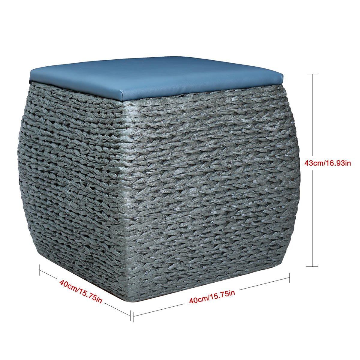 Super Eshow Wood Woven Seagrass Storage Stool Leather Cube Ottoman Home Bench Foot Seating Handmade Silver Lamtechconsult Wood Chair Design Ideas Lamtechconsultcom