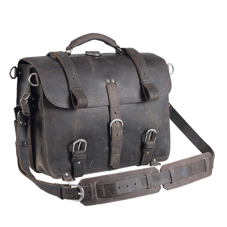 Grey Polare Men's Full Grain Leather 16'' Laptop Briefcase Shoulder Messenger Bag