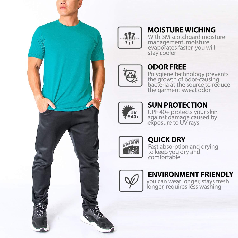 L Quick Dry XL Litume Men/'s Moisture Wicking Odor Free Athletic T-Shirt M UV Sun Protection