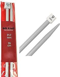 2 agujas de tejer de plástico de 35 cm de largo, 5mm, 5,5mm, 6mm, 6,5mm, 7mm, 7,5mm, 8mm, 9mm y 10mm., gris, 2 x 9mm