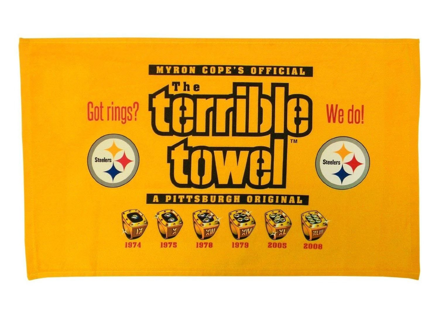 f78b6afaa4c38 Amazon.com: Pittsburgh Steelers Got Rings Terrible Towel 6x Super Bowl  Champions: Home & Kitchen