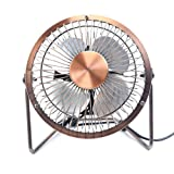Honeyall Portable USB Powered Desk Mini Fan - Vintage Metal Cooler Fan Cooling Mute Quiet - Small Table Fan with Switch on/off, Great for Desktop Tabletop Office & Travel, Retro Designed Copper Colour