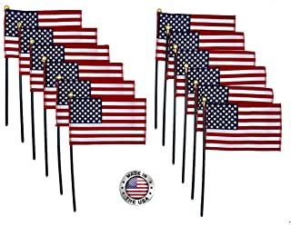 "product image for 4""x6"" American Stick Flags, 10 1/2"" x 3/16"" Plastic Dowel with Gold Spear tip, Made in USA, Hemmed Edges (24)"
