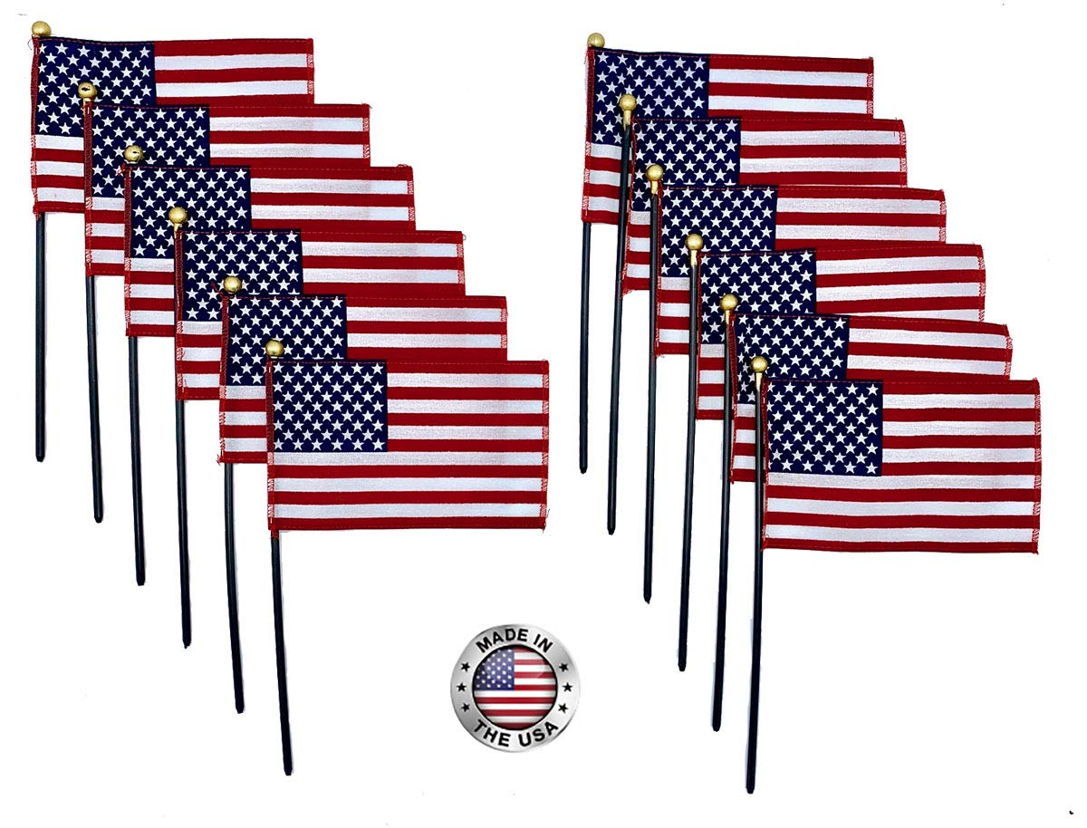 4''x6'' American Stick Flags, 10 1/2'' x 3/16'' Plastic Dowel with Gold Spear tip, Made in USA, Hemmed Edges (72)