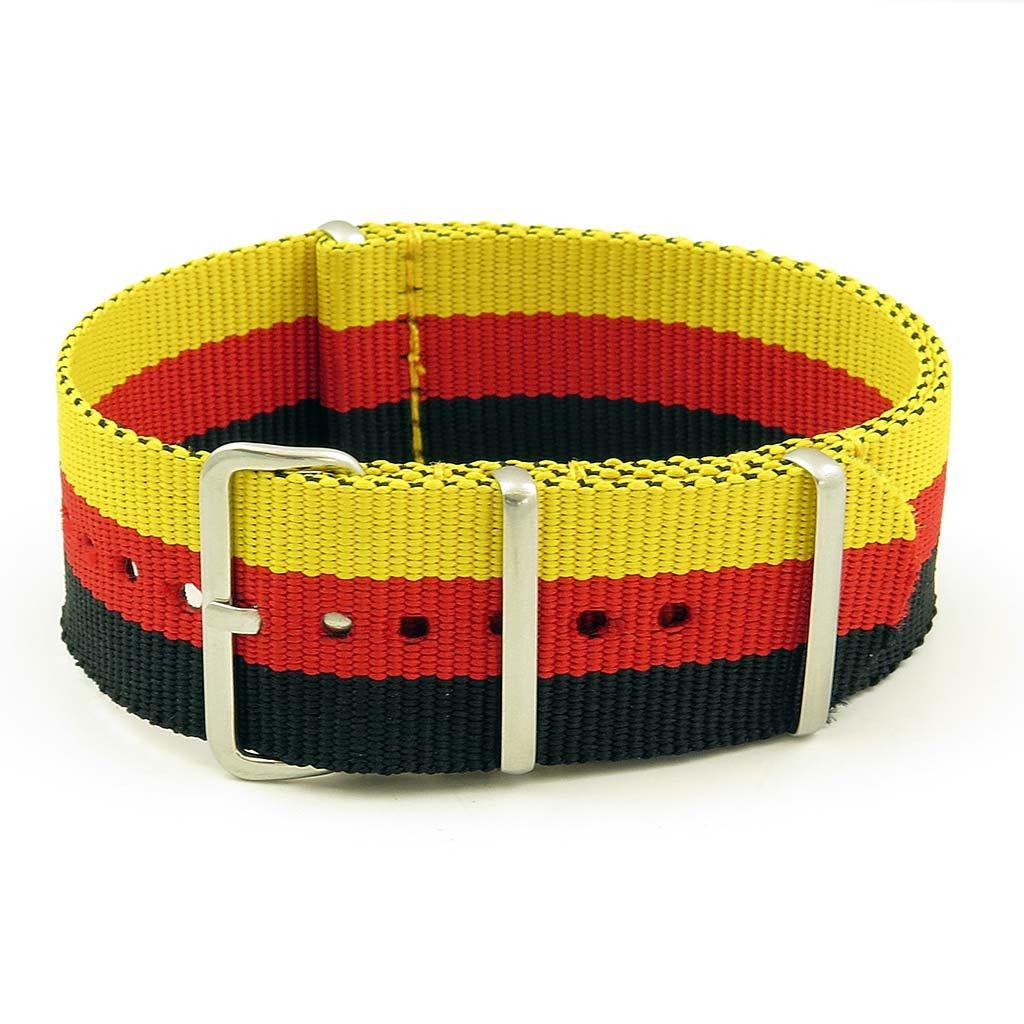 StrapsCo 24mm 黒 / 赤 / 黄色 3-リング G10 バリスティック ナイロン Nato Zulu 時計ストラップ 24MM Black / Red / Yellow Black / Red / Yellow 24MM B00ZSMQGYY