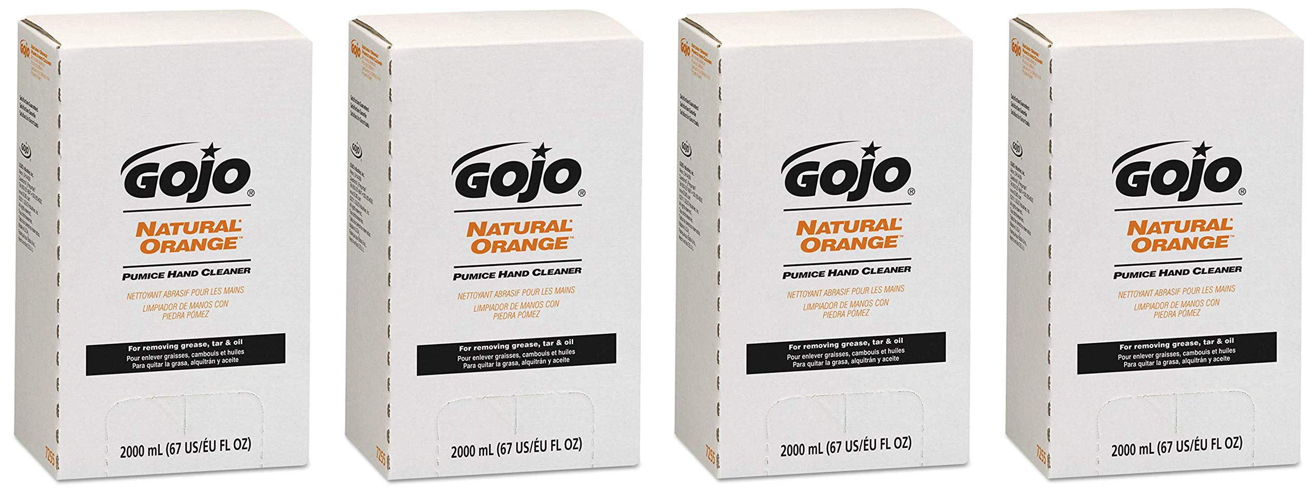 GOJO NATURAL ORANGE Pumice Hand Cleaner, 2000 mL Quick Acting Lotion Hand Cleaner with Pumice Refill for GOJO PRO TDX Dispenser (Pack of 4) - 7255-04 (Fоur Расk) by Gojo