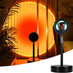 Mydethun Sunset Lamp Projection 90 Degree Rotation Rainbow Projector Lamp Romantic Visual Led Projector Night Light with USB Modern Floor Stand Living Room Bedroom Decor (Sunset Red)