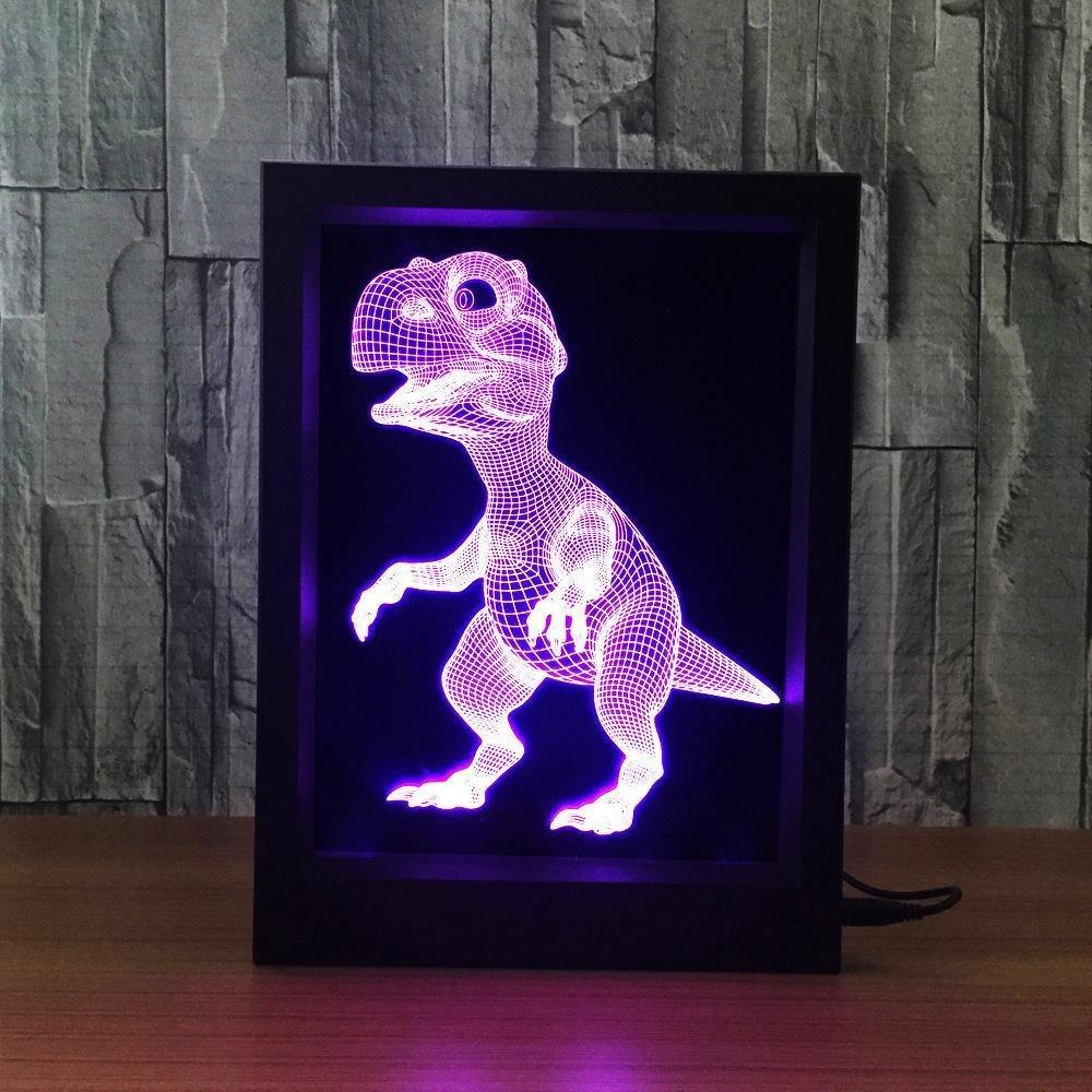 Lozse lámpara 3D de ilusión portaretrato dinosaurio 7 Color Control remoto Touch luz nocturna pequeña led creativa: Amazon.es: Iluminación