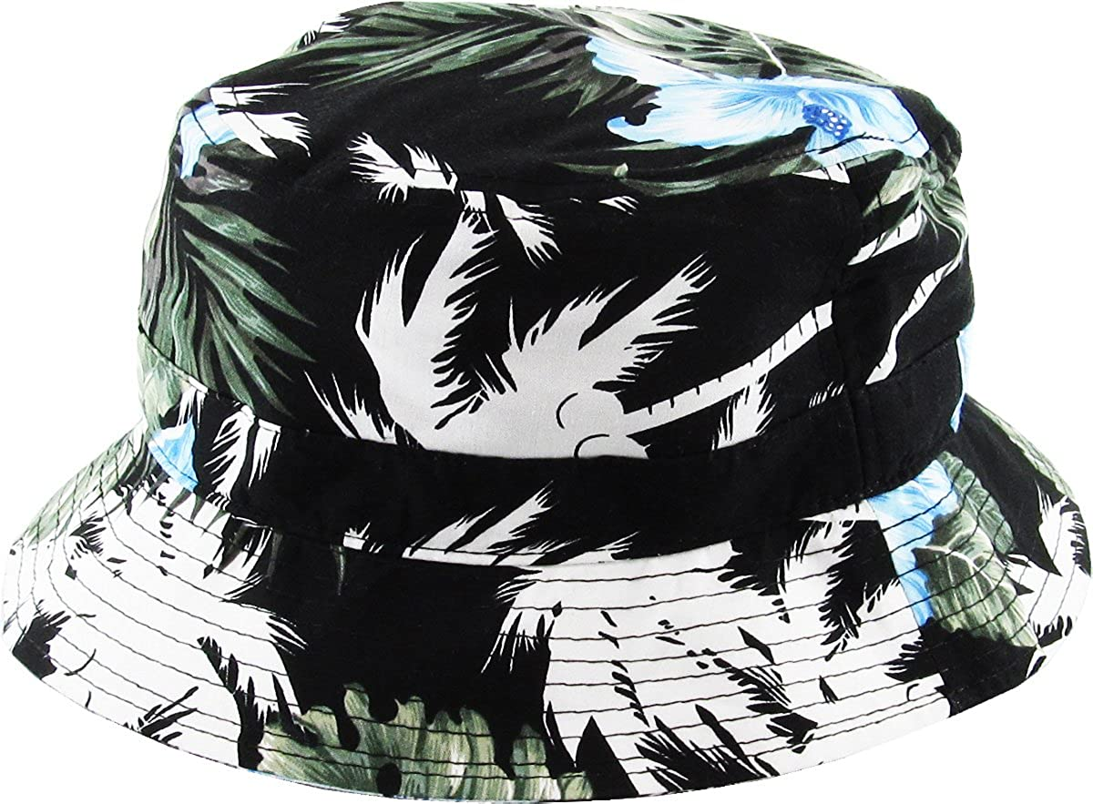 09b56789ba3 KBM-006 BLK-BLU Floral Print Bucket Hat Hawaii Hat Cap at Amazon Women s  Clothing store