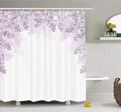 Amazon.com: Bathroom Flower Shower Curtain, Framing Lilac Flowers in ...