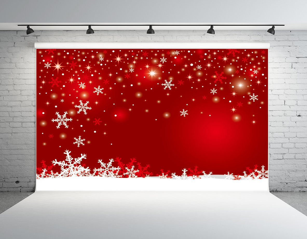 Kate 20x10ft Custom Red Christmas Background Wall Snowflake Backdrop Booth Props New Year by Kate
