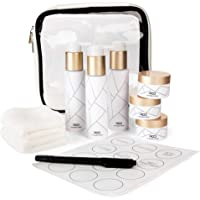 Airline Approved Travel Bottle and Jar Set (10 piece) Quart Size TSA Clear Toiletry Bag with 3 x 80ml & 3 x 30ml BPA Free, Leak Proof Travel Bottles/Containers with Customisable Labels. Ideal Refillable Travel Shampoo and Conditioner Set with Travel Cosmetic Bag for Carry-On Luggage.