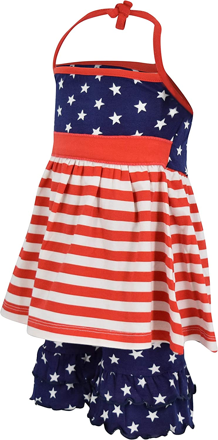Unique Baby Girls Patriotic 4th of July Halter Top Summer Outfit