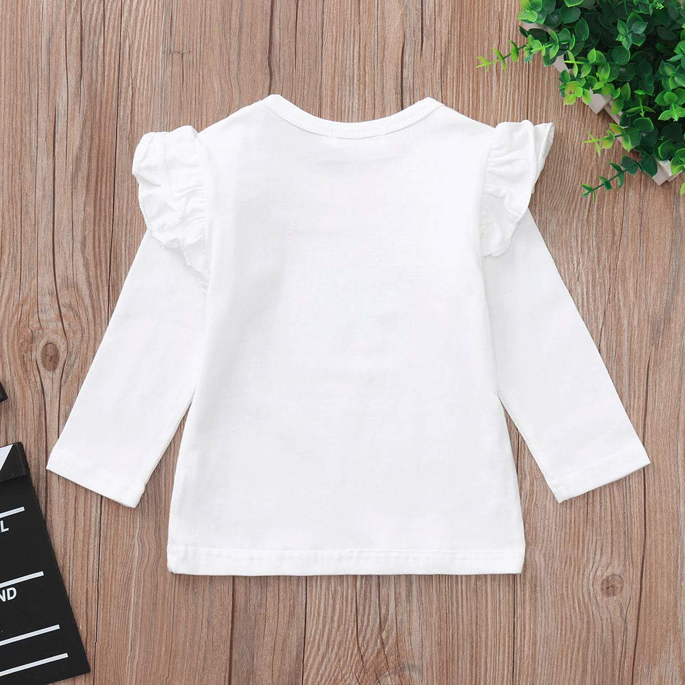 Matoen Baby Girls Long Sleeve Ruffles Candy Solid Color Lace Sleeve Shirt Tops