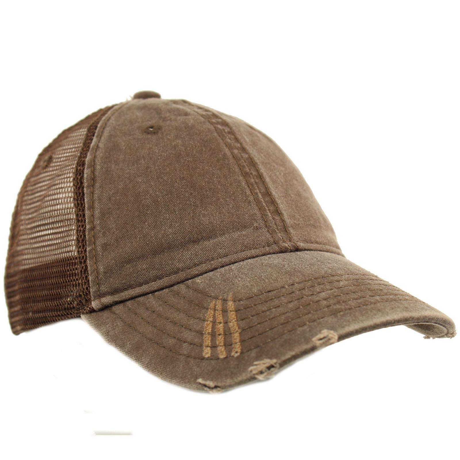 Unisex Distressed Low Profile Trucker Mesh Summer Baseball Sun Cap Hat Brown