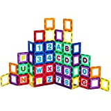 Playmags Magnetic Tile Building Set: EXCLUSIVE Educational Clickins – 36-Pc. Kit: 18 Super Strong Clear Color Magnet Tiles Windows & 18 Letters & Numbers – Stimulate Creativity & Brain Development