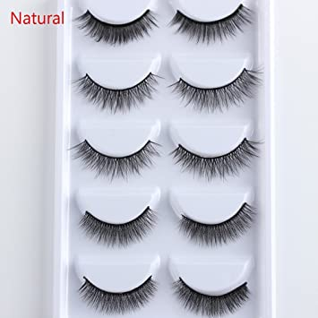 a030dac3b5d Amazon.com : 5 Pairs Multipack 3D Soft Mink Hair False Eyelashes H made Wispy  Fluffy Long Lashes Natural Eye Makeup Faux Eye Lashes 27-1 : Beauty