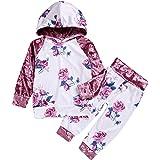 puseky Toddler Girls Velvet Floral Long Sleeve Hooded Sweatshirt & Pants Hoodie Tracksuit Outfits
