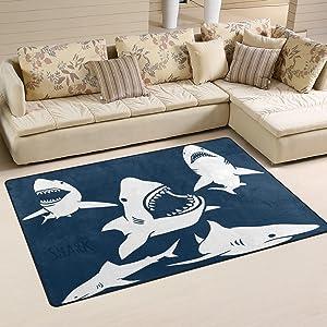 Sunlome Danger Shark Pattern Area Rug Rugs Non-Slip Indoor Outdoor Floor Mat Doormats for Home Decor 60 x 39 inches