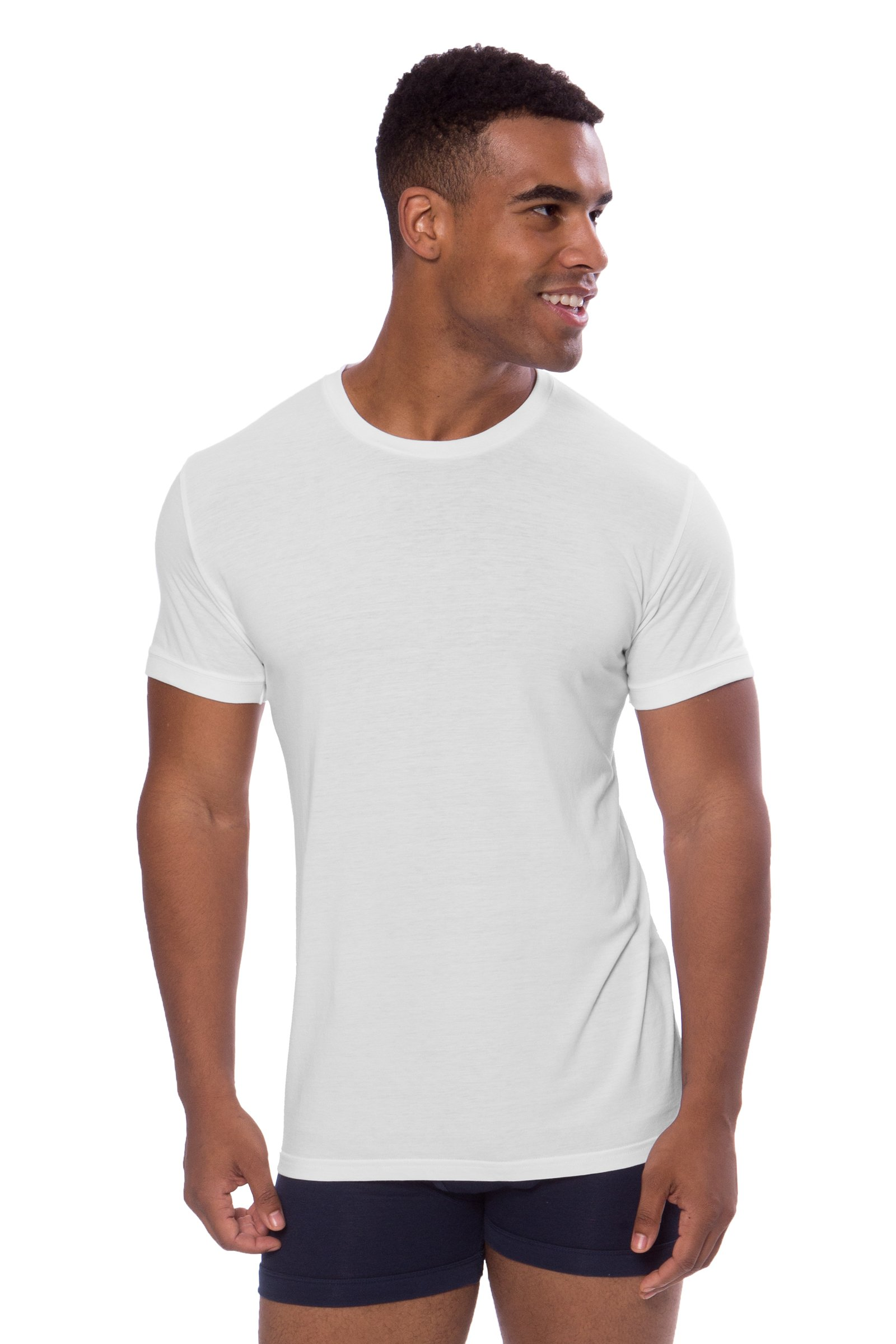 Crew Neck Undershirt for Men - Luxury Shirt in Bamboo Viscose (Natural White, X-Large/Tall) Popular Gifts for Dad Husband Son MB6001-NWH-XLT