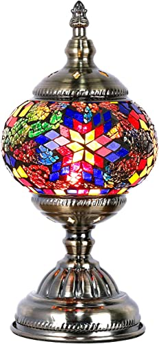 Turkish Moroccan Lamp Marrakech Handmade Mosaic Glass Table Desk Bedside Lamp Night Light for Living Room Bedroom Coffee Table Blue