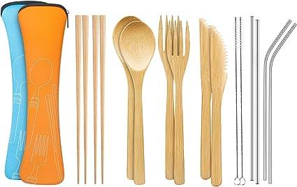 Juego de cubiertos de bambú (7 piezas) con pajita y limpiador de acero inoxidable de 21,59 cm, utensilios de bambú extra largos para viajes y camping, ...